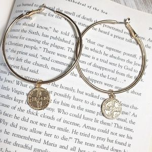 NEW 3 FOR 35 LARGE COIN CHARM GOLD HOOPS